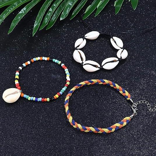 Milacolato 8 PCS /Étoile De Mer Tortue Shell Cheville pour Femmes Filles /À La Main Multicouche Cheville Bracelet R/églable Plage Pied Bijoux