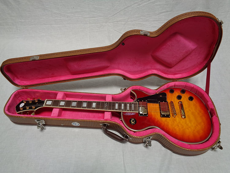 Allen Eden Brown Arch Top Les Paul Alligator Skin Hardshell Guitar Case