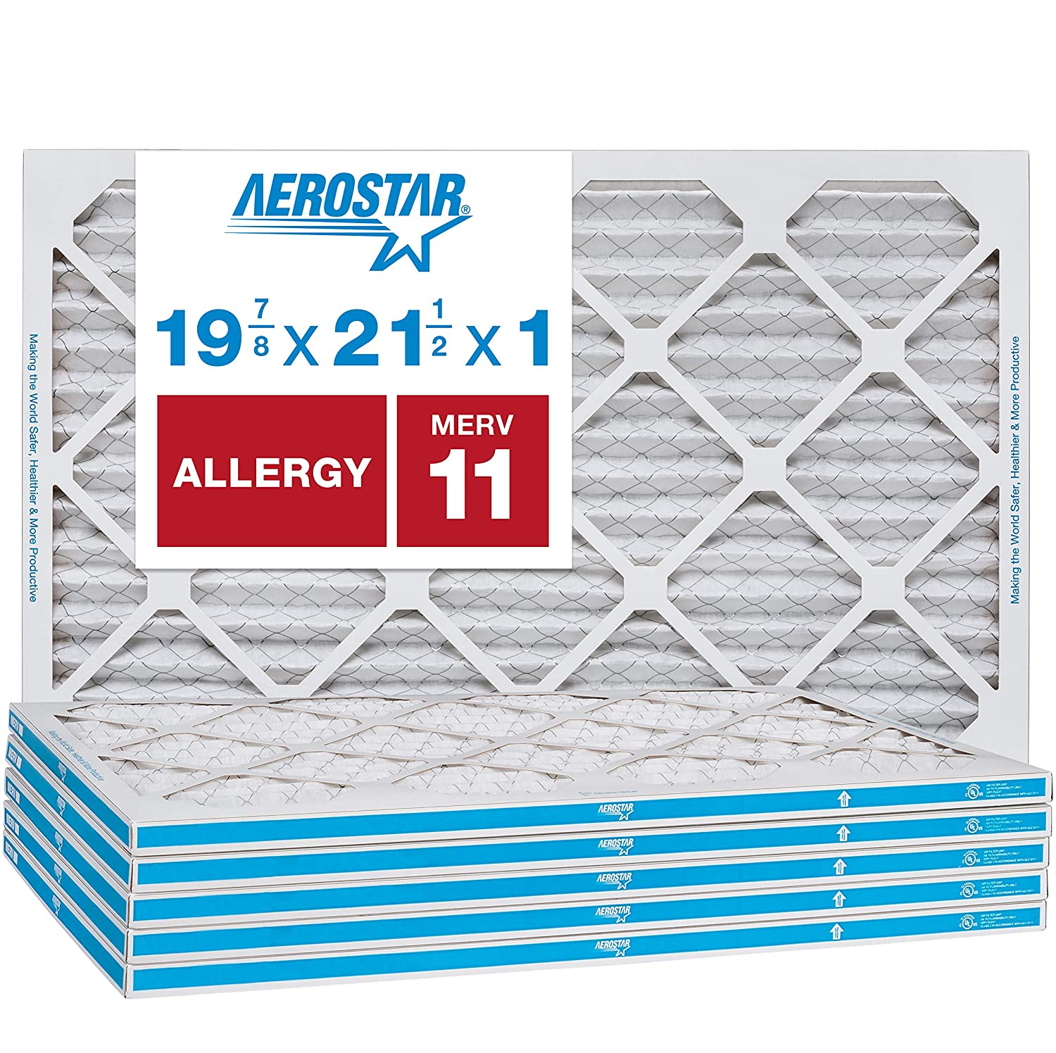 Aerostar Allergen & Pet Dander 19 7/8 x 21 1/2x1 MERV 11 Pleated Air Filter, Made in the USA, 6-Pack