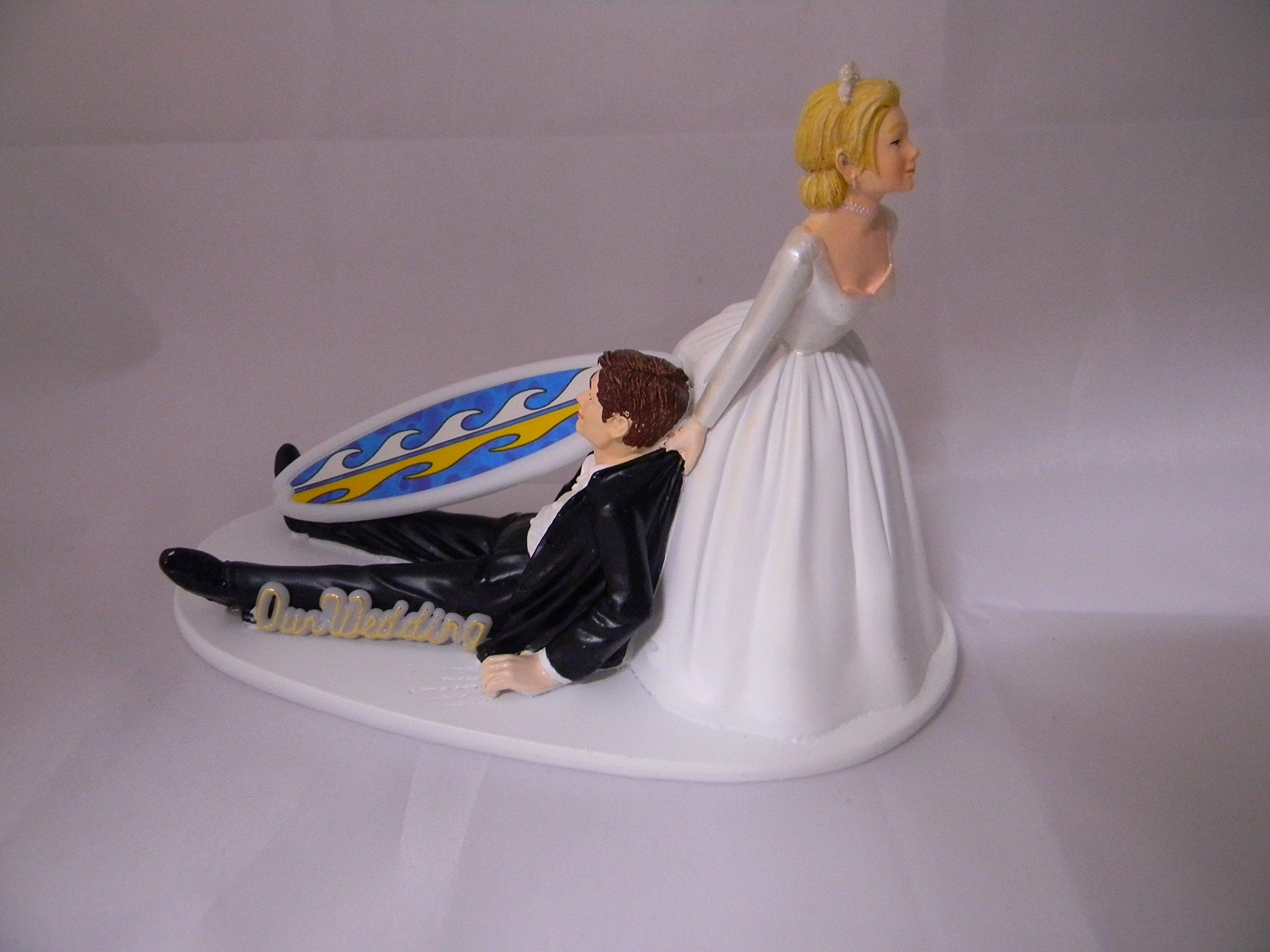 Wedding Reception Party Bridal Beach Ocean Surfboard Surfer Cake Topper