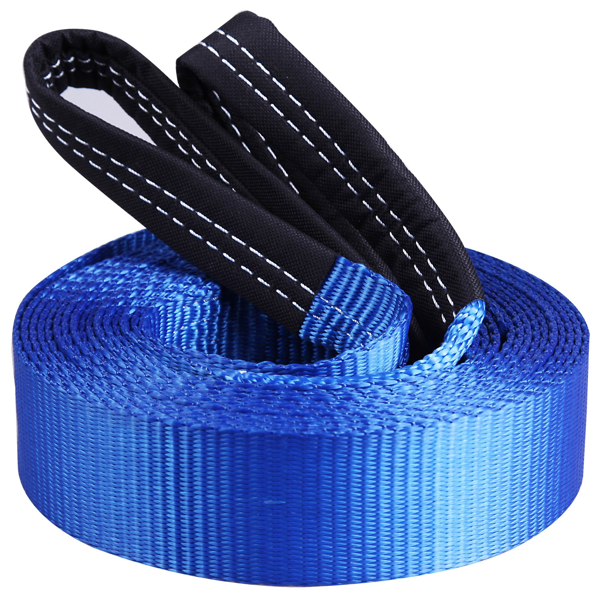 CARTMAN Heavy Duty Tow Belt 2'' x 20' 10,000Lbs, Tow Strap with Reinforced Loops by CARTMAN