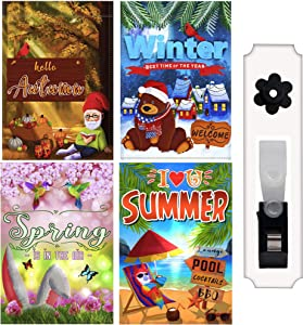 HenMik Seasonal Garden Flags Set of 4 for Outside 12x18 inch - Assorted Small Yard Banners for All Seasons Spring Summer Autumn Winter with 3 Layers - Double Sided Welcome Garden Flag