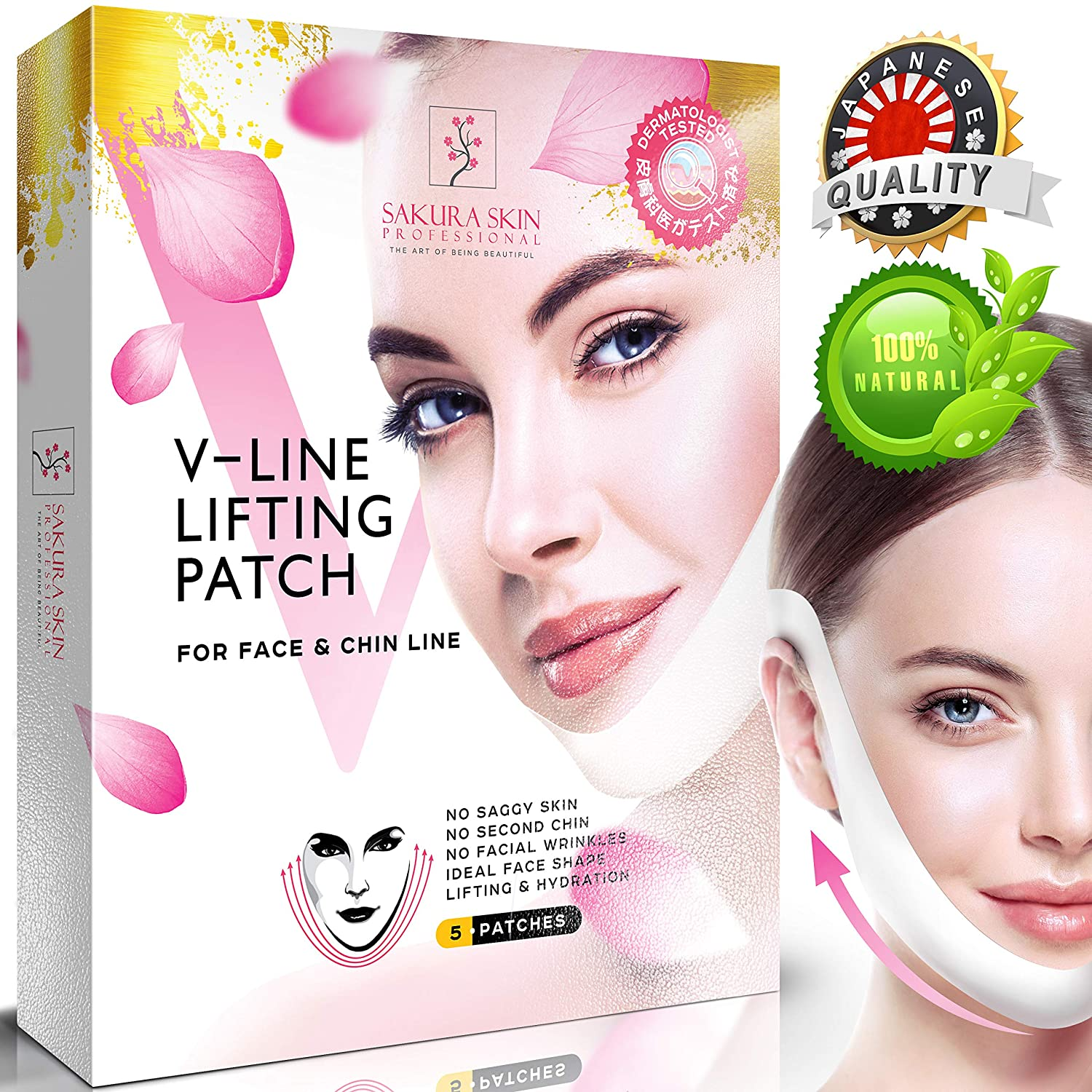 3074ef5b738 Amazon.com   V Line Mask Neck Mask Face Lift V Lifting Chin Up Patch Double  Chin Reducer Neck Lift V Up Contour Tightening Firming Moisturizing Кorean  ...