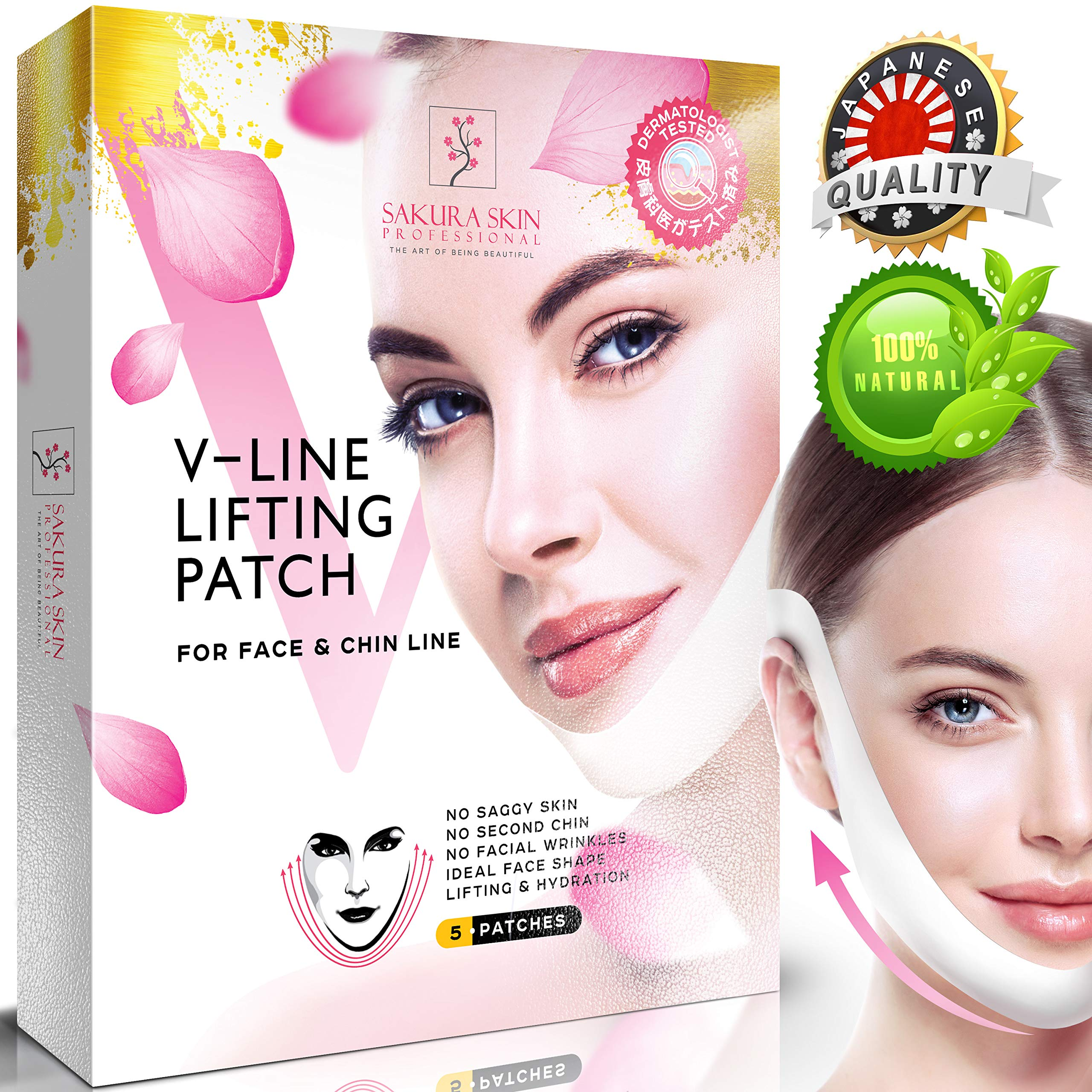 Chin Up Patch, Face Lift, V line, Double Chin Reducer, Contour Lifting Firming Moisturizing Mask - 5 Strips