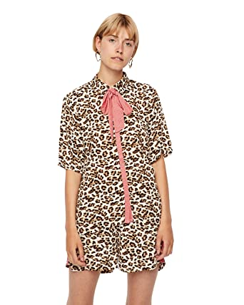 fa8a38613693 Vila Leodot Blouse in Leopard Print 12: Amazon.co.uk: Clothing