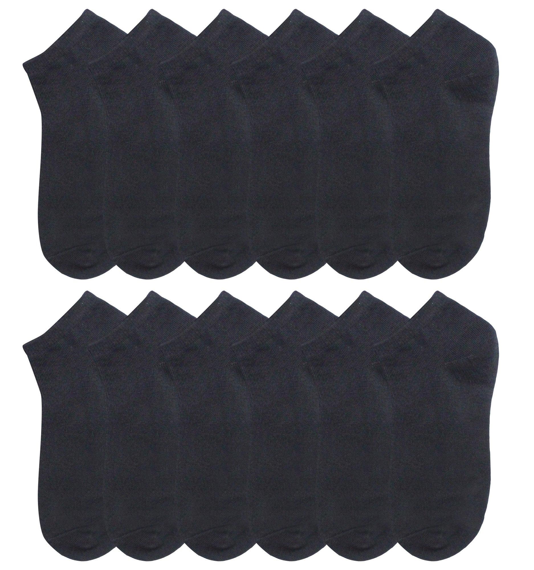 DZSbestdeal Girls' Dozen Pack Low Cut Socks Black 8-9.5 sock size/12-6shoe size