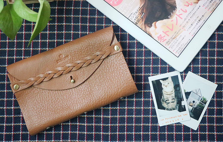 ZESTORY Vintage Braided Strap Caramel Brown Genuine Leather Instant Polaroid Fujifilm Instax Mini Photo Album Card Holders