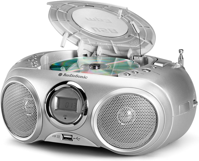 MP3, USB 2.0 Silber AudioSonic CD-571 CD Stereoradio