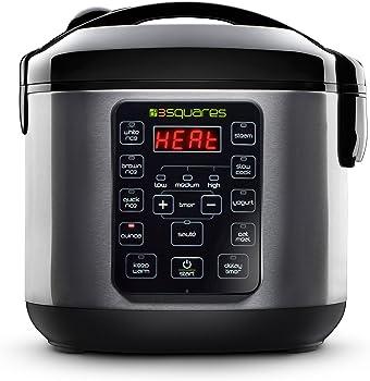 3 Squares 20 Cup Rice Cooker Slow Cooker Yogurt Maker & Food Steamer