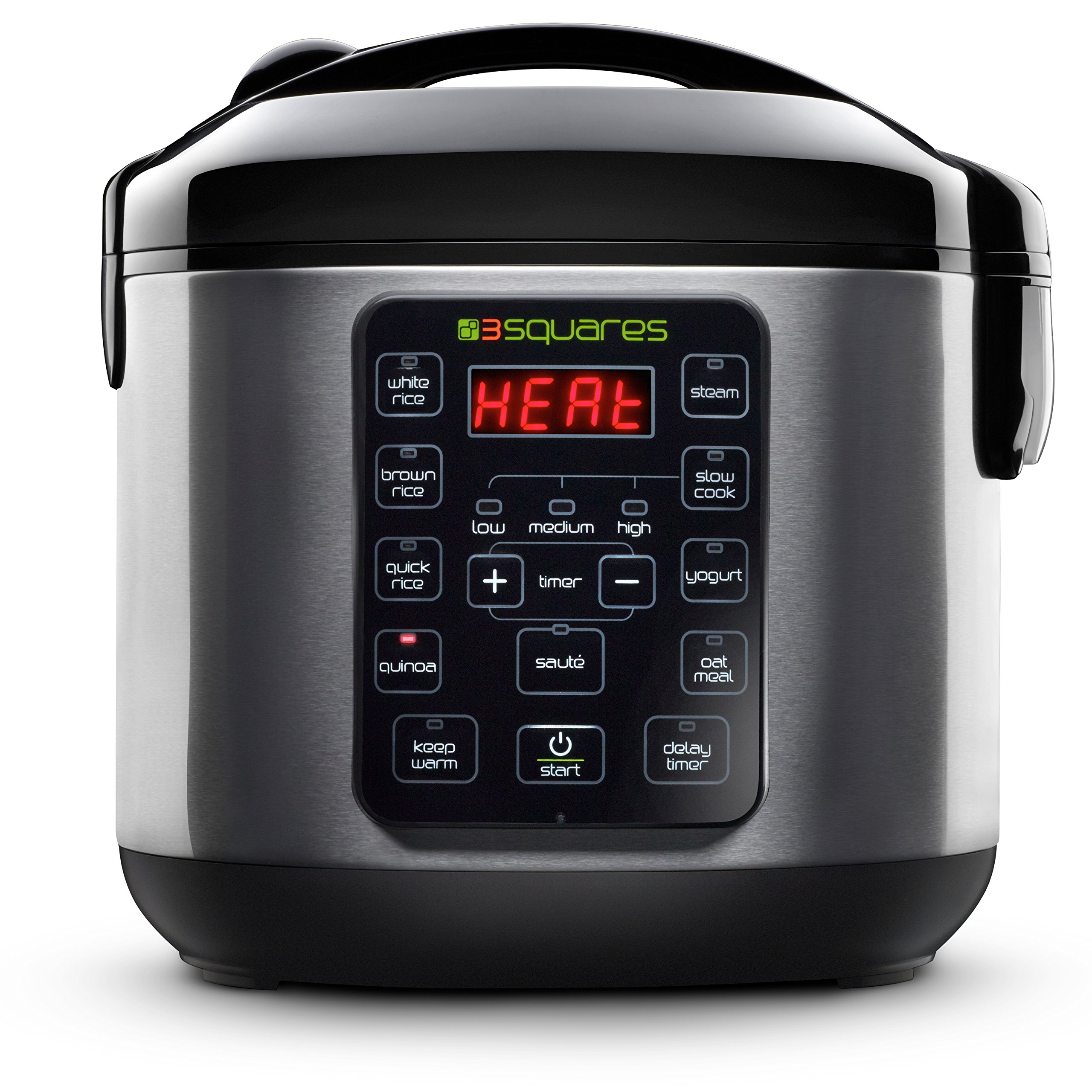 3 Squares 3RC-3050 Rice Cooker, 20 Cup/4 Qt, Stainless Steel/Black
