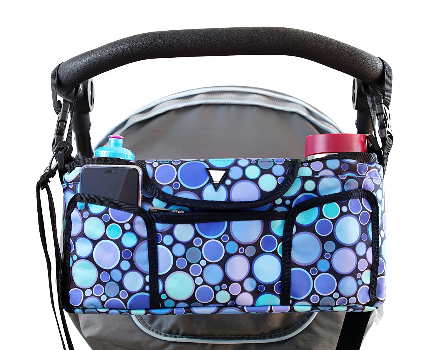 Universal Baby Stroller Organizer Bag with 2 Insulated Cup Holders and Adjustable Shoulder Strap for Baby Accessories, Phones and Keys, The Perfect Baby Shower Gift F.Family