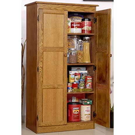 Amazon.com: MultiPurpose Oak Storage Cabinet Medium Oak Finish ...