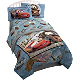 Disney/Pixar Cars Tune Up Blue/Gray 4 Piece Full Sheet Set with Lightning McQueen & Mater (Official Disney/Pixar Product)