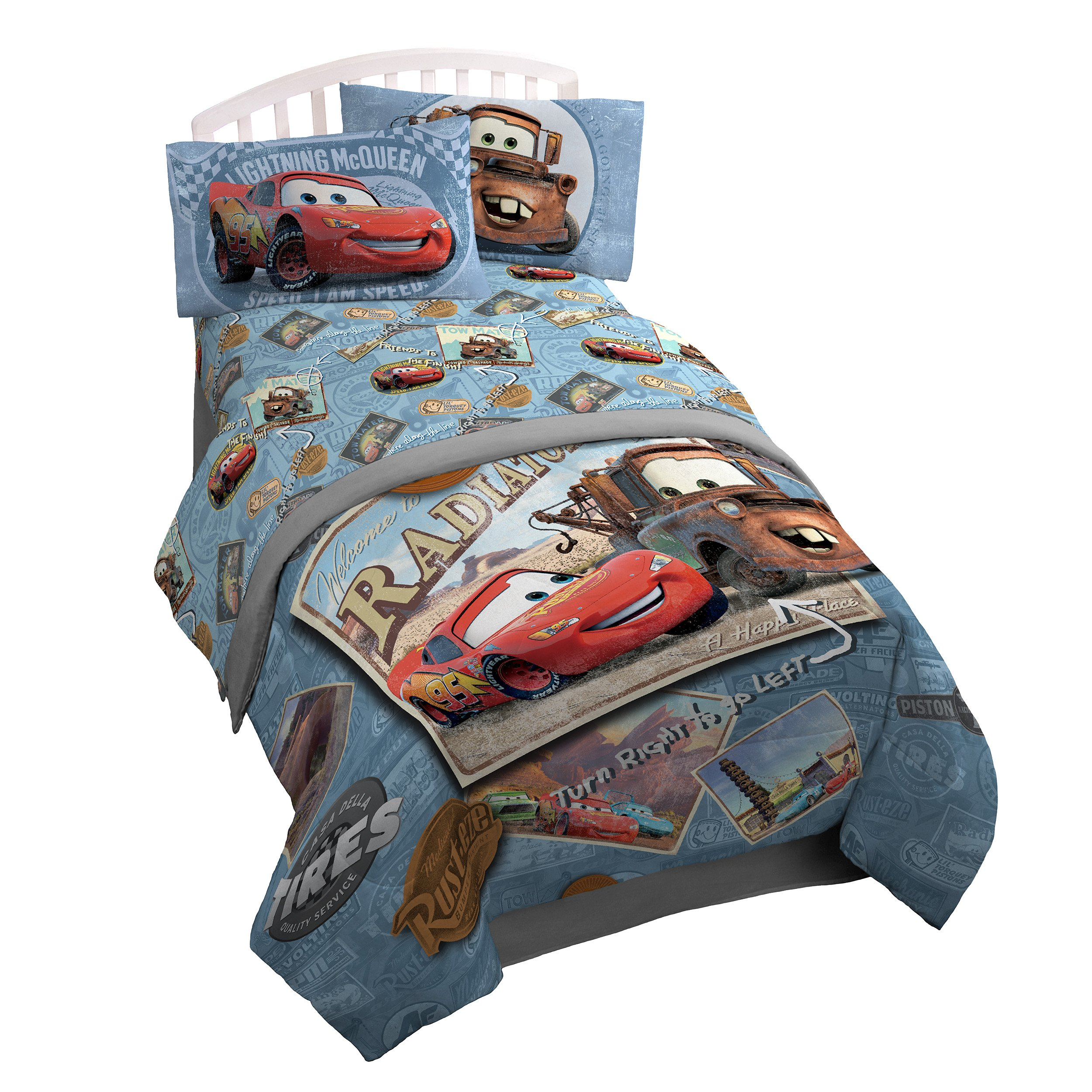 Disney/Pixar Cars Tune Up Blue/Gray 3 Piece Twin Sheet Set with Lightning McQueen & Mater (Official Disney/Pixar Product)