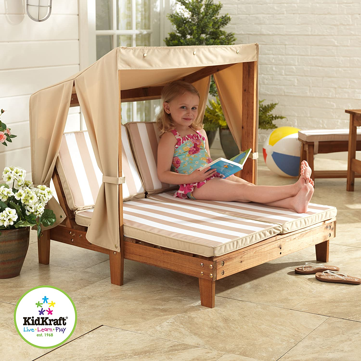 Awesome Amazon.com: KidKraft 00 Double Chaise, Oatmeal And White Stripes: Toys U0026  Games