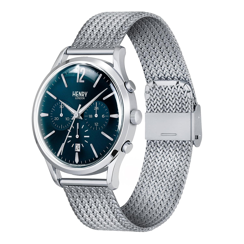 Henry London Reloj Cronógrafo para Hombre de Cuarzo con Correa en Acero Inoxidable 5018479078111: Amazon.es: Relojes