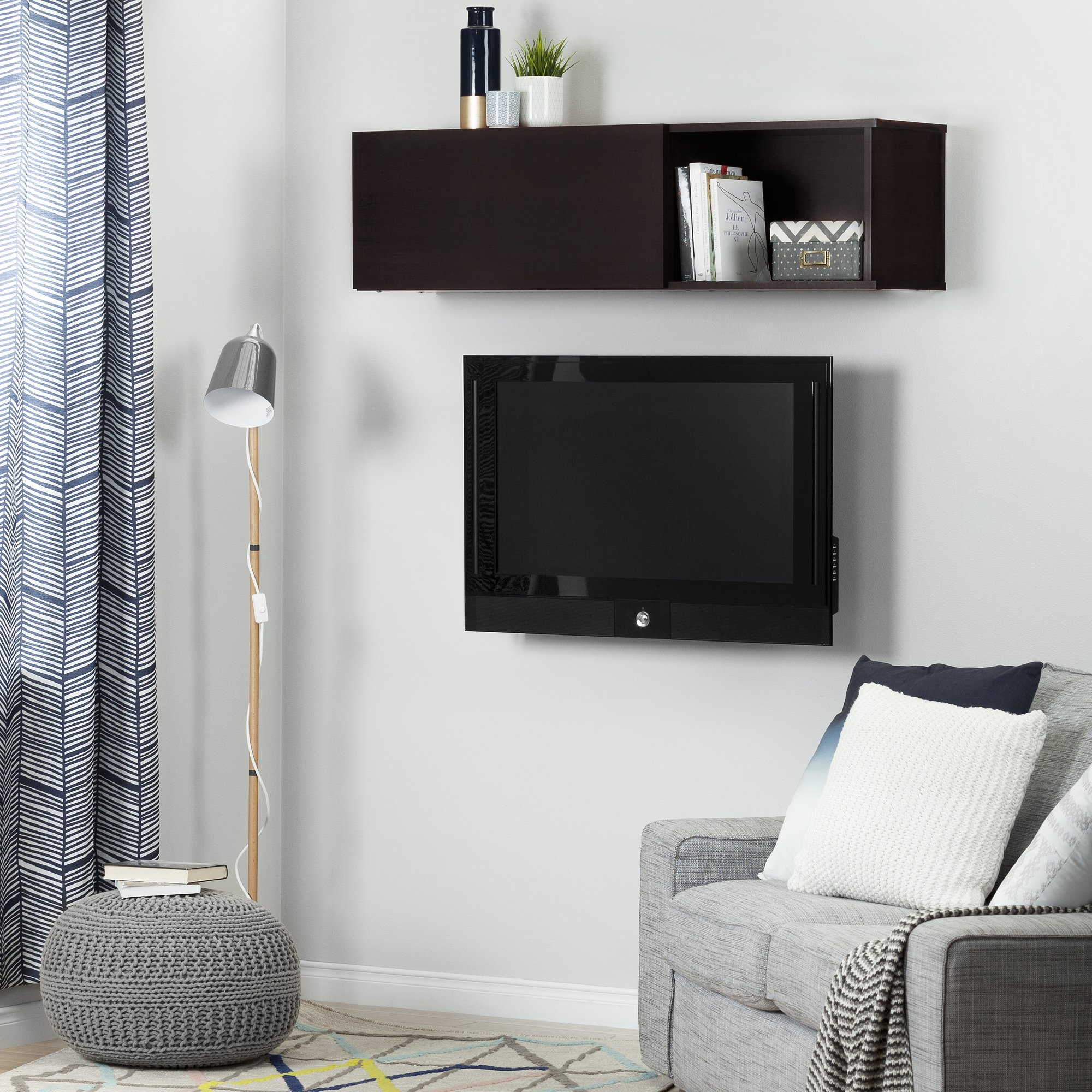 South Shore City Life Wall Mounted Storage Unit, Chocolate