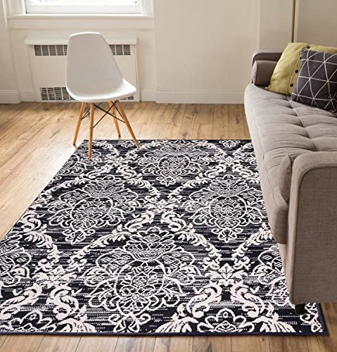Well Woven Floral Damask Black Beige 8 2 x 9 10 Area Rug Carpet