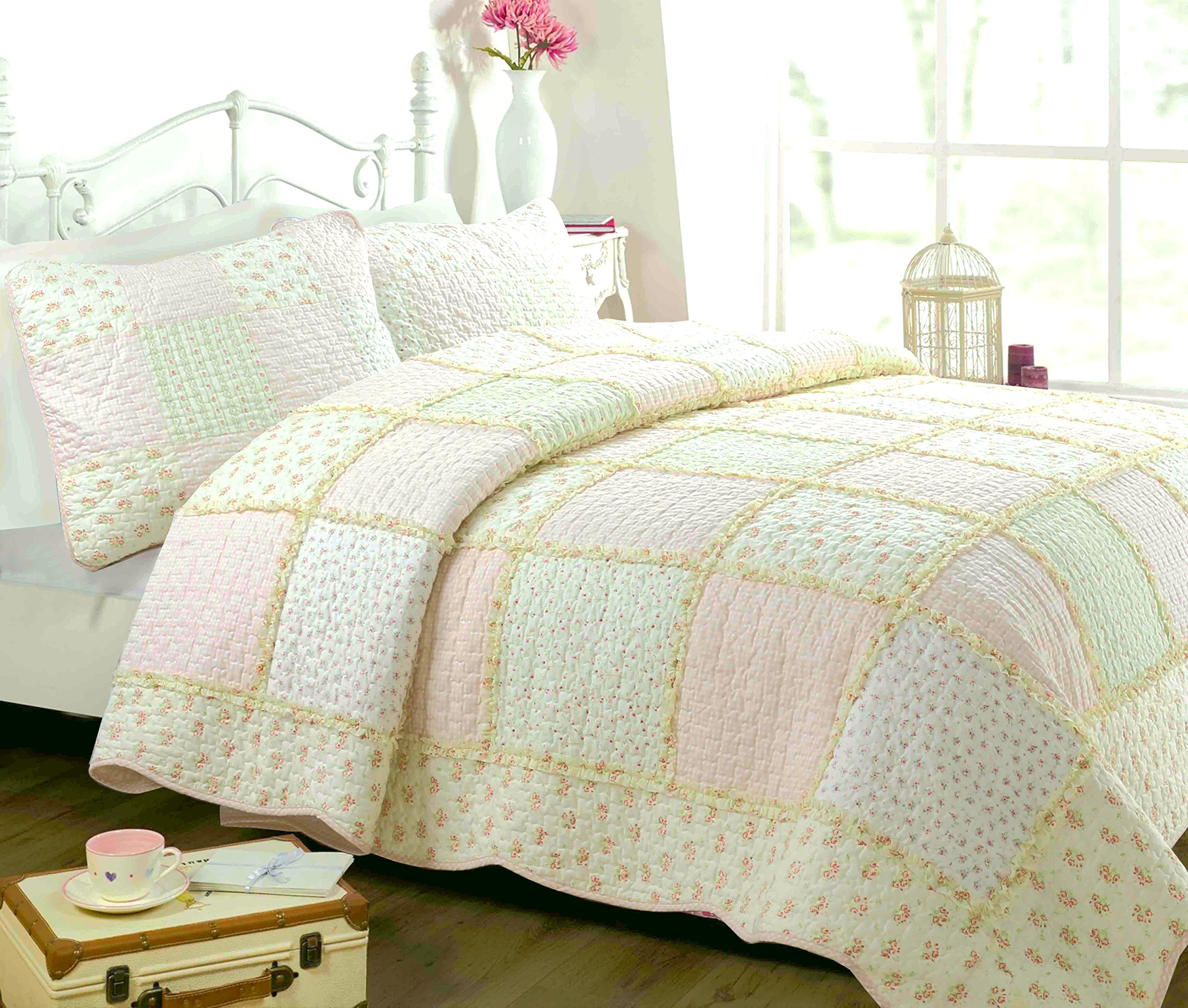 Cozy Line Home Fashions Sweet Peach Floral Light Pink/Yellow/Green/Rose Printed 3D Real Patchwork 100% COTTON Quilt Bedding Set, Reversible Coverlet Bedspread,Gifts for Her Girl Women(Queen - 3 piece)