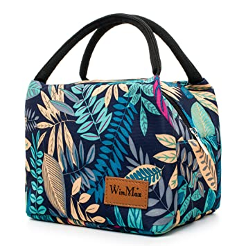 0b0cecb1def0 Winmax Lunch Cooler Bag, Small Insulated Lunch Box Bags, Portable and  Reusable Lunch Bag for Women (Leaves Pattern)