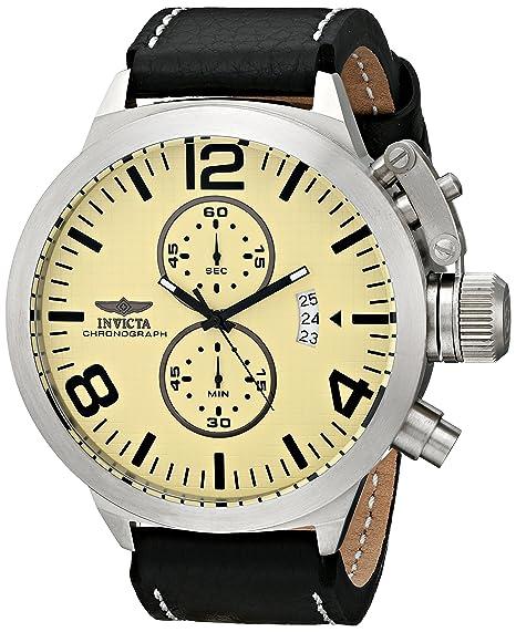 Invicta 3449 - Reloj de pulsera hombre, piel, color negro: Invicta: Amazon.es: Relojes
