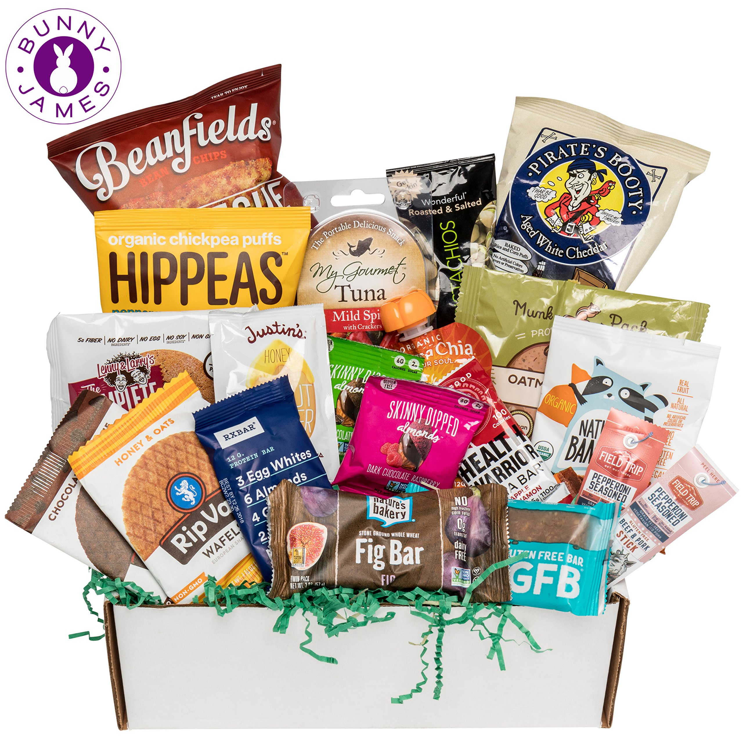 Healthy Sweet & Savory Snacks Sampler Box: Variety Mix of Premium Natural, Organic, Gourmet Food Snacks – College Care Package, Thank You, Get Well Gift Box by BUNNY · JAMES ·
