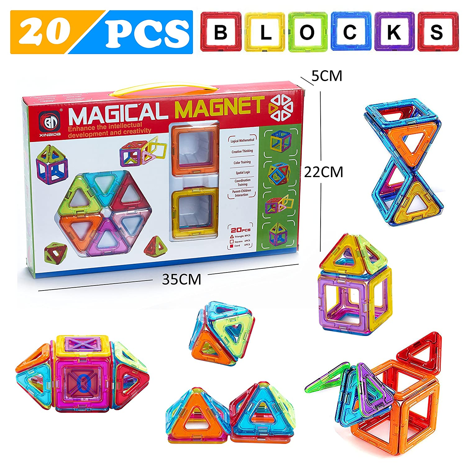 Minihorse Educational Building Toy 20 pieces with Activities to Learn Math STEM Concepts Magnetic Blocks Building Set for Kids Magnetic Tiles For 2 5 Year Old Boys Girls