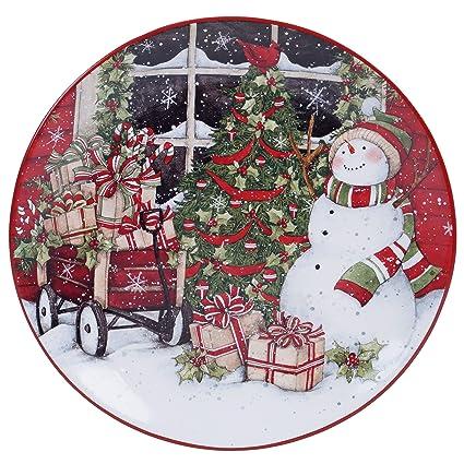 Amazon.com | Certified International Snowman\'s Sleigh Round Platter ...