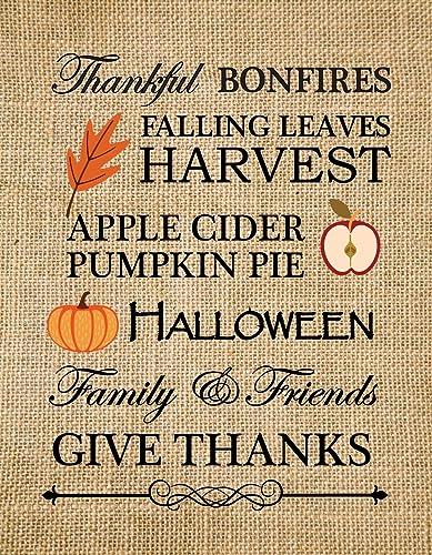 Fall Decoration Print, Autumn Home Decor, Halloween Decor, Fall Decor Rustic Art, Thanksgiving Decor, Subway art words, burlap print -1R (Frame not Included)