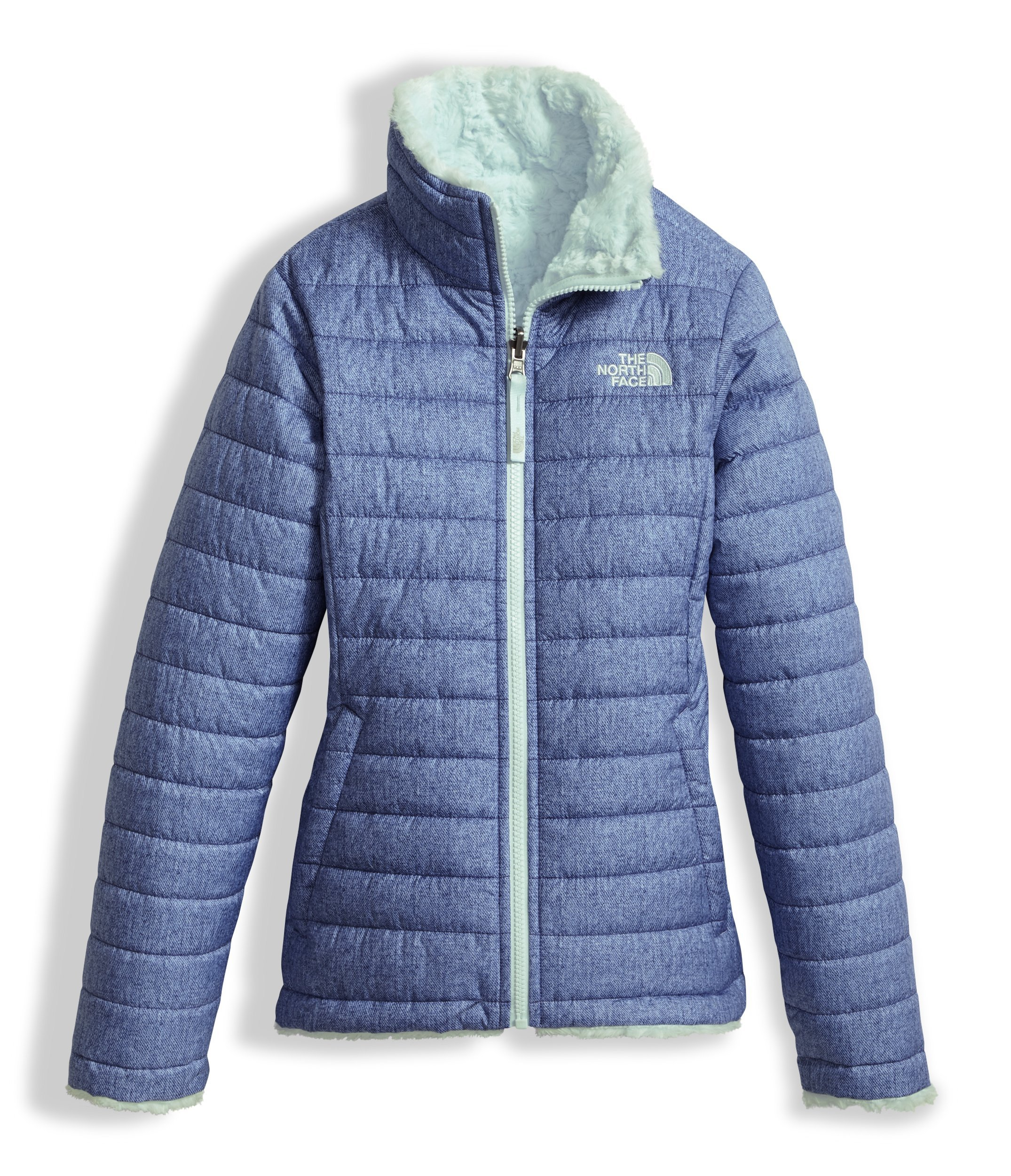 The North Face Girls Reversible Mossbud Swirl Jacket Bright Navy White Heather (Medium) by The North Face