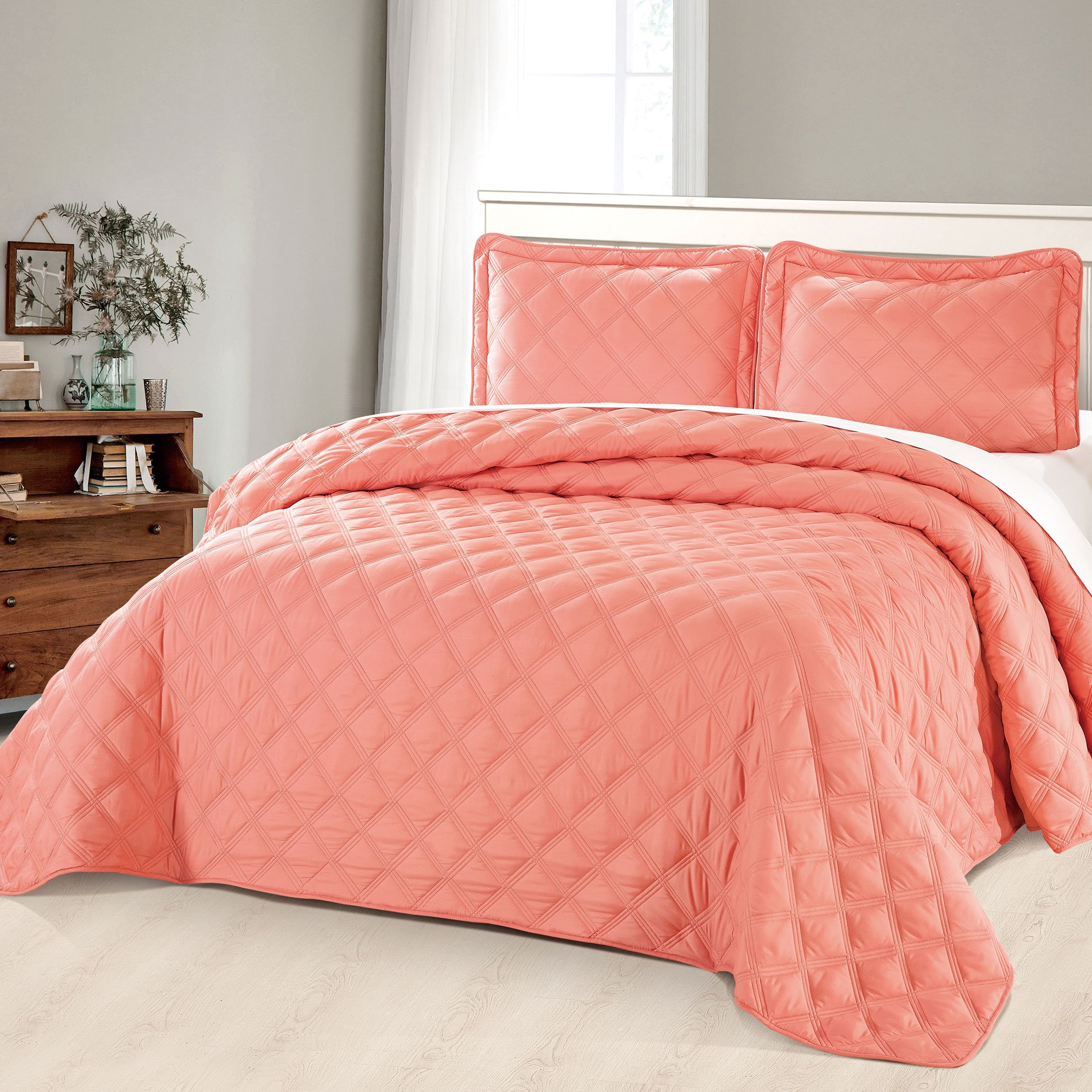 Home Soft Things Serenta Charleston Down Alternative Quilted Bed Spread, Coral, Twin 80'' x 106''