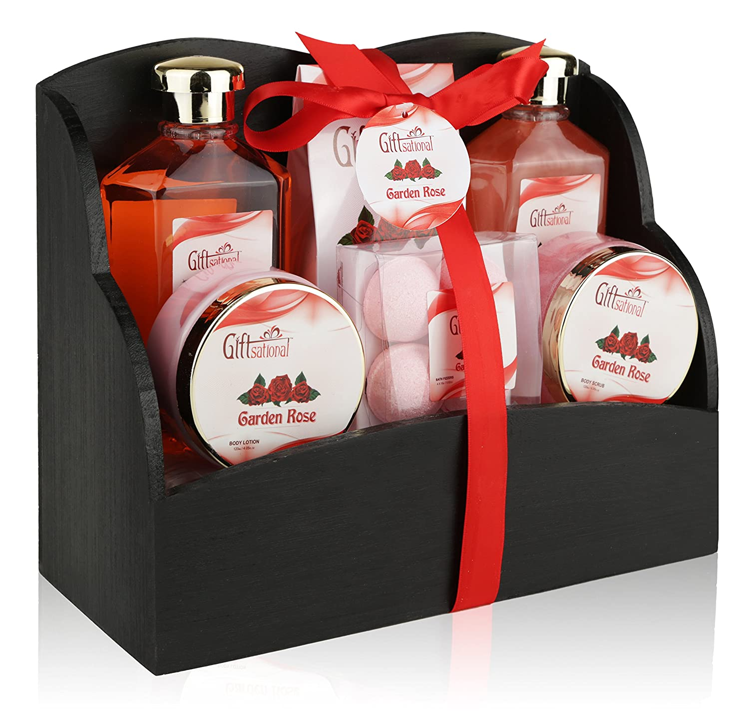 Spa Gift Basket with Heavenly Garden Rose fragrance - Gift set Includes Shower Gel, Bubble Bath, Bath Bombs Bath Salts and More! Great Graduation, Birthday, Anniversary, or Wedding gift for Women! Giftsational EF02