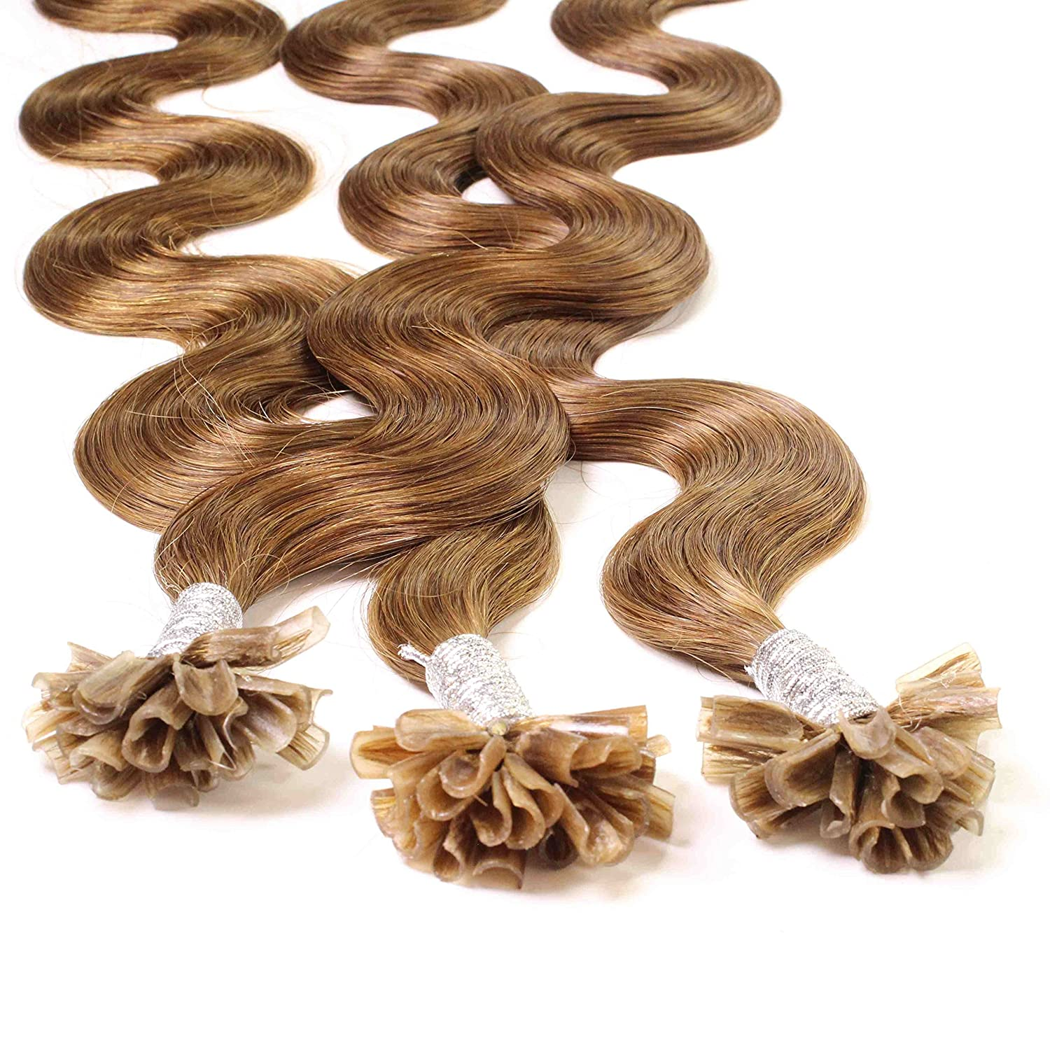Hair2Heart 25 x 1g Extensiones de Queratina - 50cm - Corrugado, Color 8 Bronceado: Amazon.es: Belleza