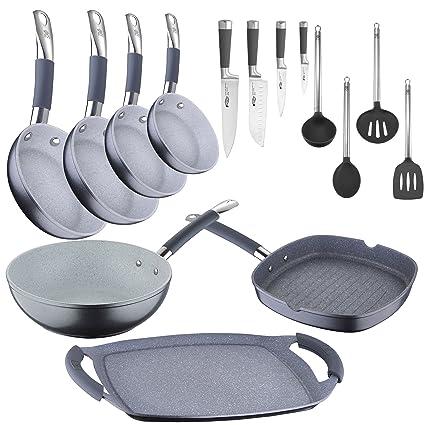 Bateria de cocina profesional: sartenes profesionales, wok y parrillas + cuchillos + utensilios.