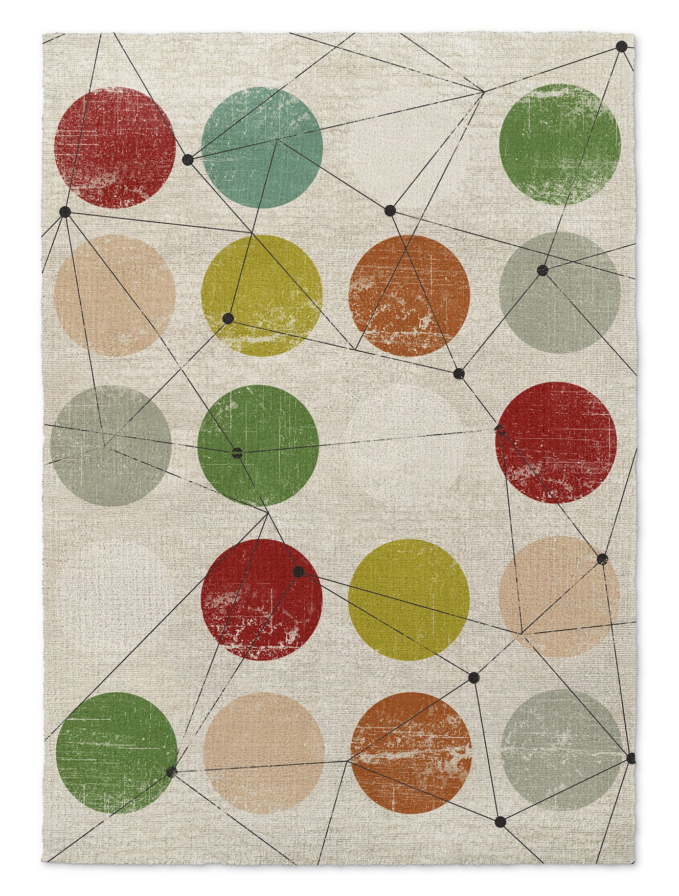 KAVKA Designs Nova Area Rug, (Red/Green/Orange/Blue/Brown) - MOD Collection, Size: 8x10x.5 - (TELAVC8225RUG810)