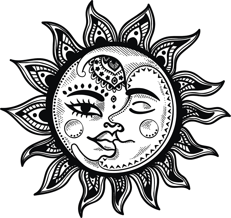 Amazon com pretty black and white boho gypsy tribal cartoon icon vinyl decal sticker 4 wide sun moon automotive