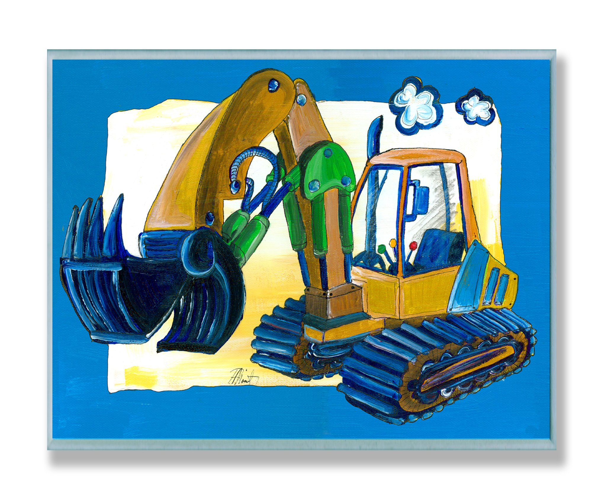 The Kids Room by Stupell Yellow Excavator with Blue Border Rectangle Wall Plaque by The Kids Room by Stupell