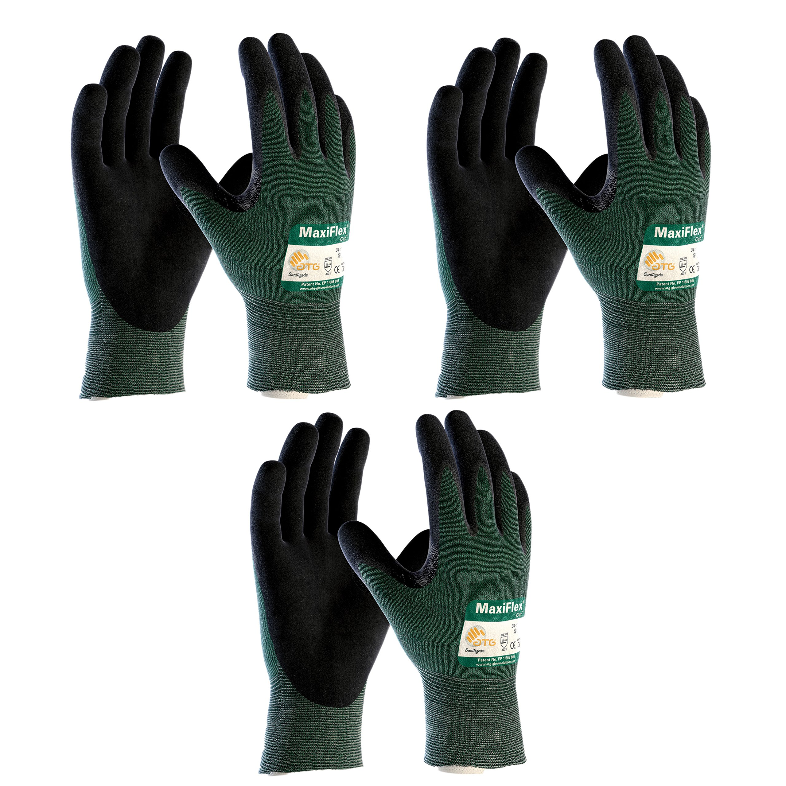 3 Pack MaxiFlex Cut 34-8743 Cut Resistant Nitrile Coated Work Gloves with Green Knit Shell and Premium Nitrile Coated Micro-Foam Grip on Palm & Fingers. Size (XX-Large) (3)