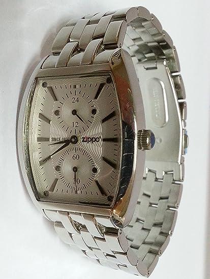 Zippo Watch Acero Inoxidable Hombre Reloj de pulsera esfera blanco