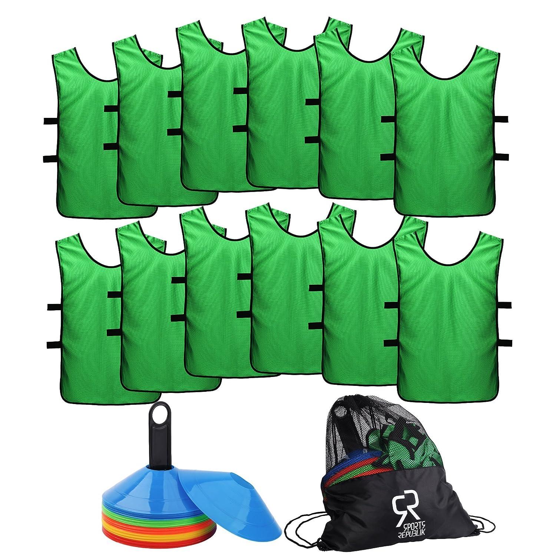 【5%OFF】 SportsRepublik サッカーコーン(50本セット)とジャージ素材のスポーツビブス(12枚パック) M。バスケットボールのドリル練習に最適なディスクコーン グリーン。サッカートレーニング備品を補完するにもぴったりです。敏捷さを鍛えるサッカー練習用備品として。 B075ZRHLZN B075ZRHLZN グリーン M (6-11歳) M (6-11歳)|グリーン, 商売繁昌SHIMBI:5e87960a --- arianechie.dominiotemporario.com