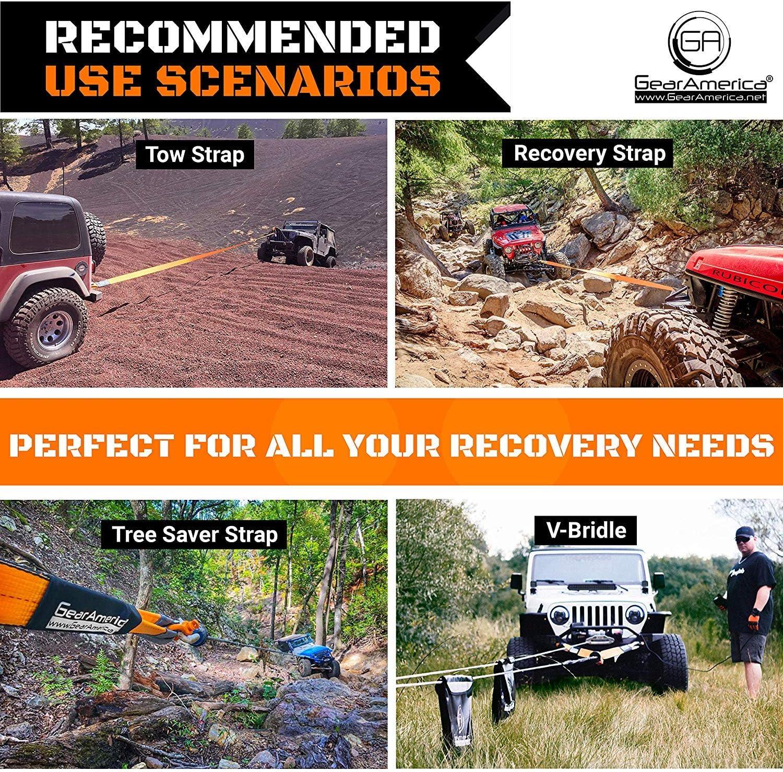2PK GearAmerica Heavy-Duty-Baum Saver Winch Strap Off-Road Abschleppen und Seil f/ür LKW,Jeep und Gel/ändewagen anbringen Haken oder-Tested Pull Feststecken Aufbewahrungstasche 3 x 8 2PK Orange