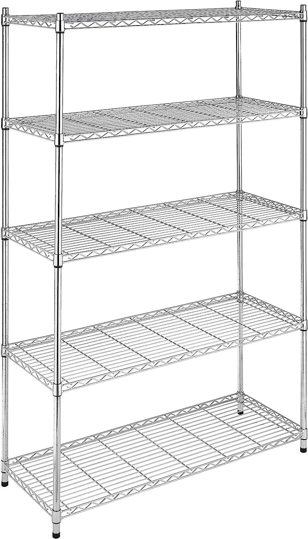 Whitmor Supreme 5 Tier Adjustable Shelving - 500 Pound Weight Capacity Per Shelf - Leveling Feet