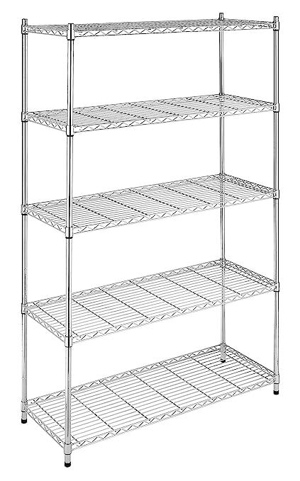 Com Whitmor Supreme 5 Tier Adjule Shelving 500 Pound Weight Capacity Per Shelf Leveling Feet Home Kitchen