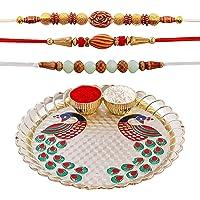 Hathkaam 5PC Rakhi Set for Brother & Bhabhi 3Pc Rakhee for Bhai Bhaiya Happy Raksha Bandhan Premium Quality Handcrafted…