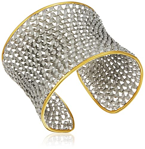 Yellow Gold Plated Silver Two Tone Cuff Bracelet