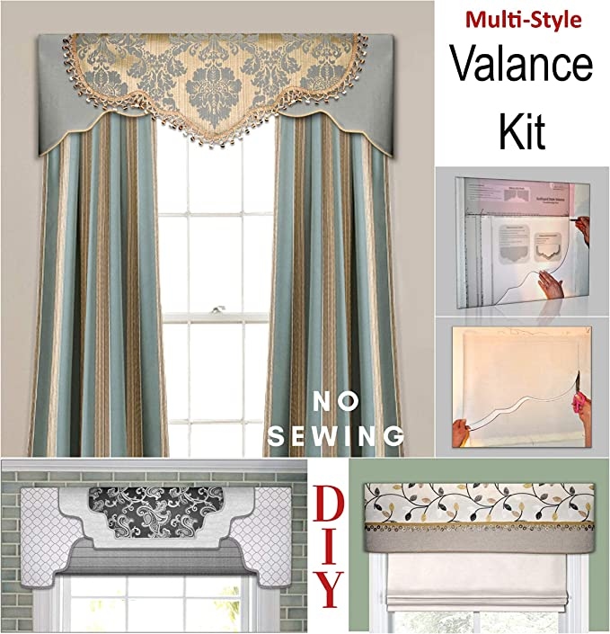 Amazon Com Transform Your Windows Without Sewing Three Valance Styles In One Kit Fit All Window Sizes Including Bay Windows Reusable No Sew Room Decor Pattern For Bedroom Kitchen Curtain Diy Cornice Home