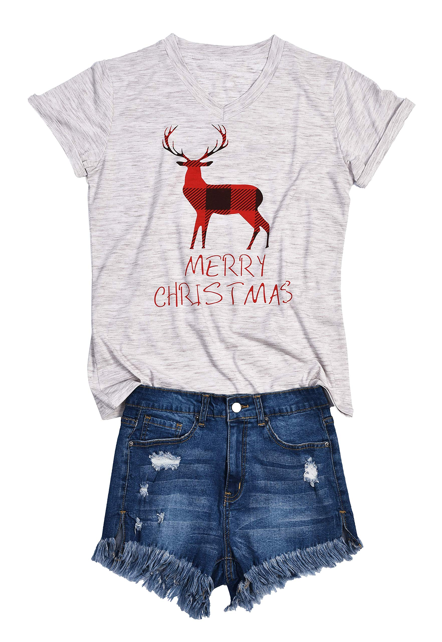 AOVXO Christmas Short Sleeve Shirts for Women Merry Christmas Shirt Hat Truck Reindeer Christmas Movie T-Shirt Meaningful Gift (Gray 2, L)