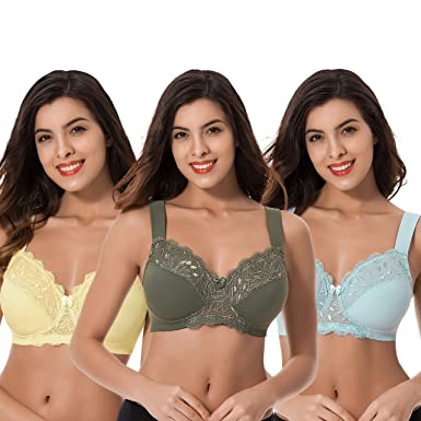 9d220f7ea11 Curve Muse Plus Size Unlined Minimizer Wire Free Bra with Embroidery  Lace-3Pack-HUNTER
