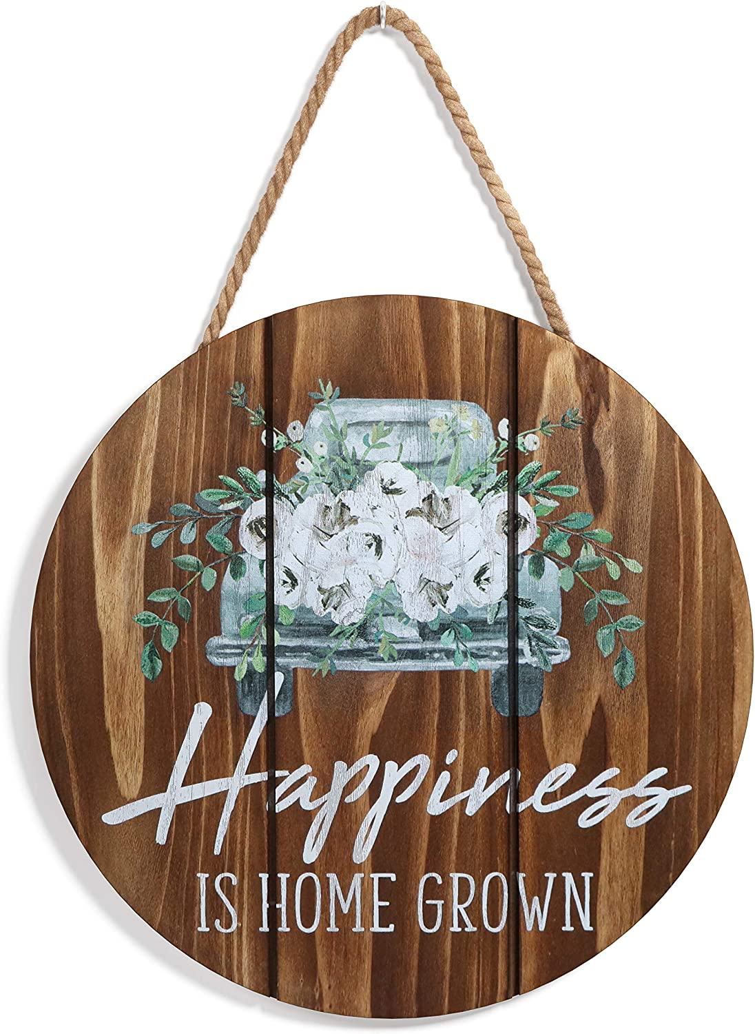 """Barnyard Designs Happiness is Home Grown Welcome Sign for Front Door or Covered Outdoor Porch, Farmhouse Home Decor, Brown 12"""" x 12"""""""