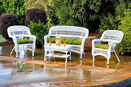 Tortuga Outdoor Furniture Portside 4-Piece Seating Set with Custom  Sunbrella Cushions, White Wicker - Amazon.com : Tortuga Outdoor Furniture Portside 4-Piece Seating Set